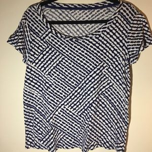 Nicole Miller short sleeve, blue and white top, xl